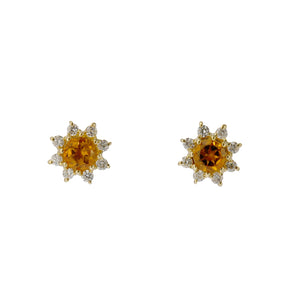 18 Karat Gold Diamond Birthstone Earring (96-3040-3051)-Earring-Jewels Japan