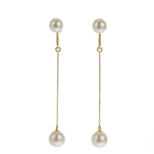 18 Karat Yellow Gold, Akoya Pearl earring (96-3107)