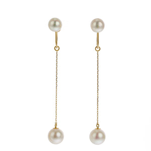 18 Karat Gold Akoya Pearl earrings (96-3107)-Earring-Jewels Japan