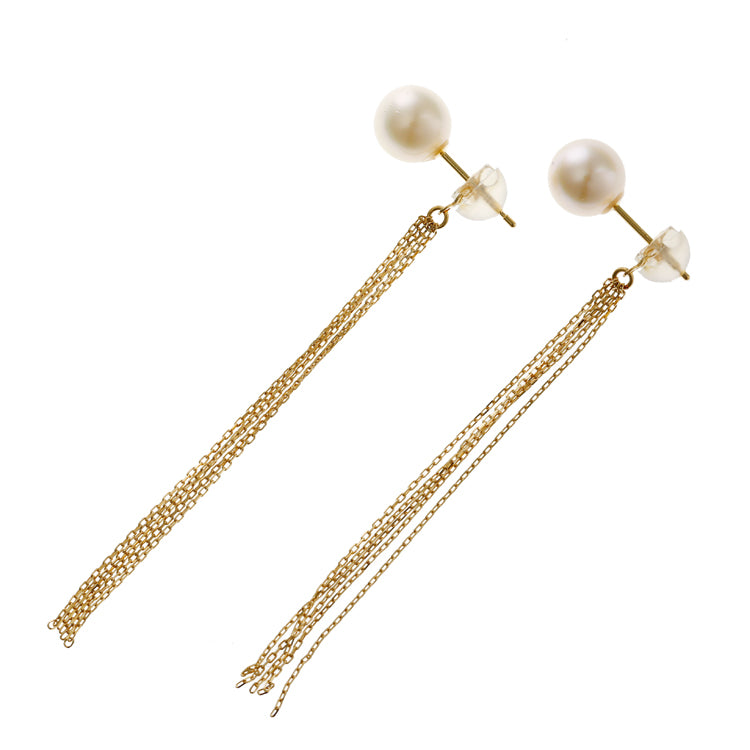 18 Karat Gold Pearl Earring (96-3121)-Earring-Jewels Japan
