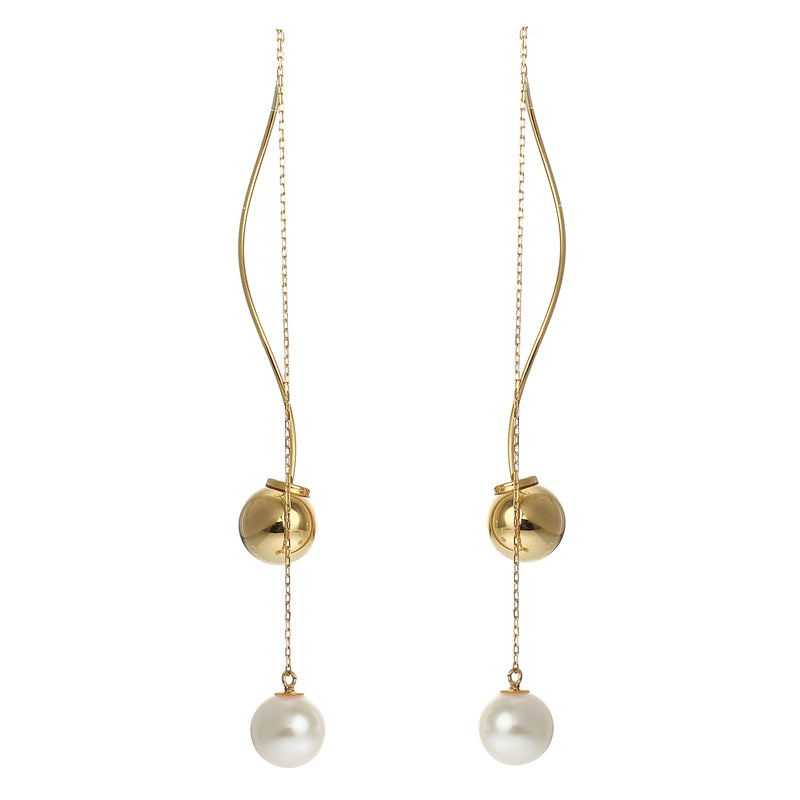 18 Karat Gold Akoya Pearl Earrings (96-3136)-Earring-Jewels Japan