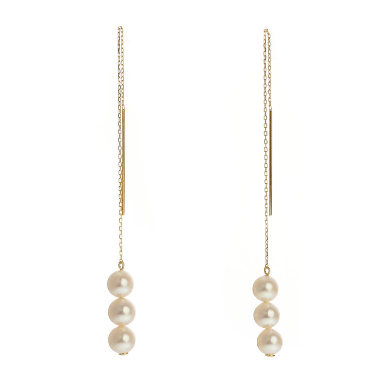 18 Karat Gold Pearl Earring (96-3137)-Earring-Jewels Japan
