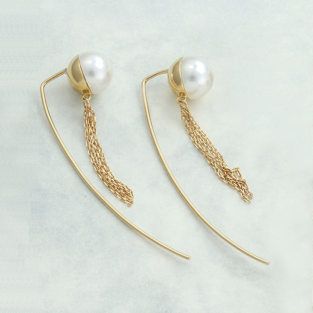 18 Karat Gold Akoya Pearl Earrings (96-3187)-Earring-Jewels Japan