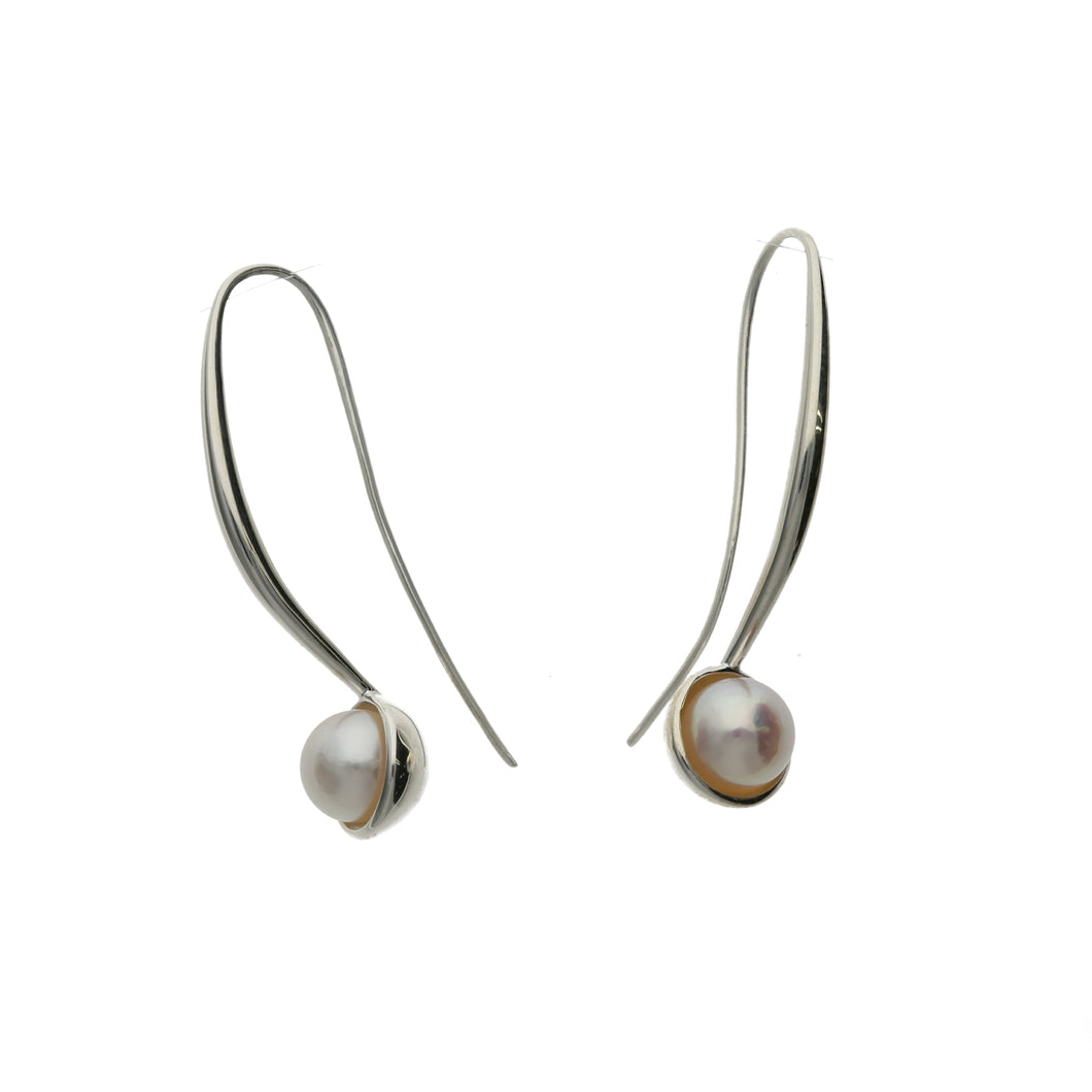 Silver925 Akoya Pearl Earrings (96-8007)-Earring-Jewels Japan