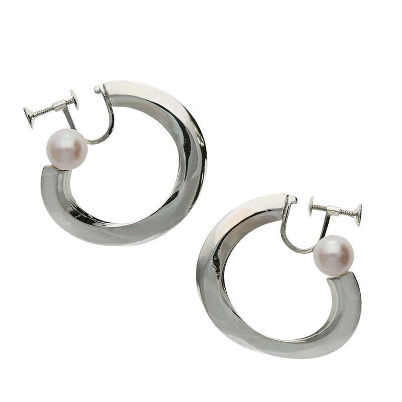 Silver925 Akoya Pearl Clip-on Earrings (96-8074)-Earring-Jewels Japan