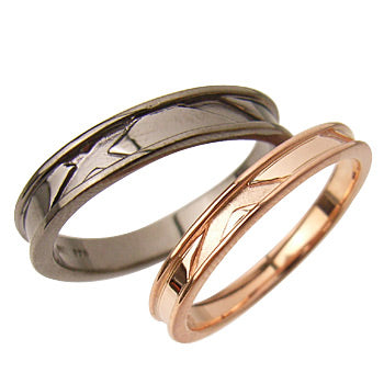 Simple line pairing (PinkGold / Black Coating) | Men's & Lady's (Set)95-2029b-2028p