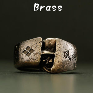 BRASS HIDDEN SAMURAI RING(14-2364B)-Ring-Samurai-Jewels Japan