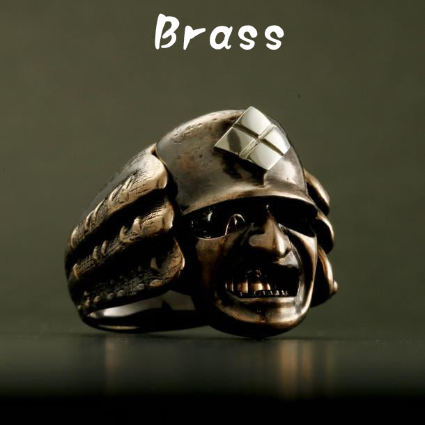 BRASS SAMURAI RING With HIDDEN SKULL (14-2367B)    <p><strong><span style=