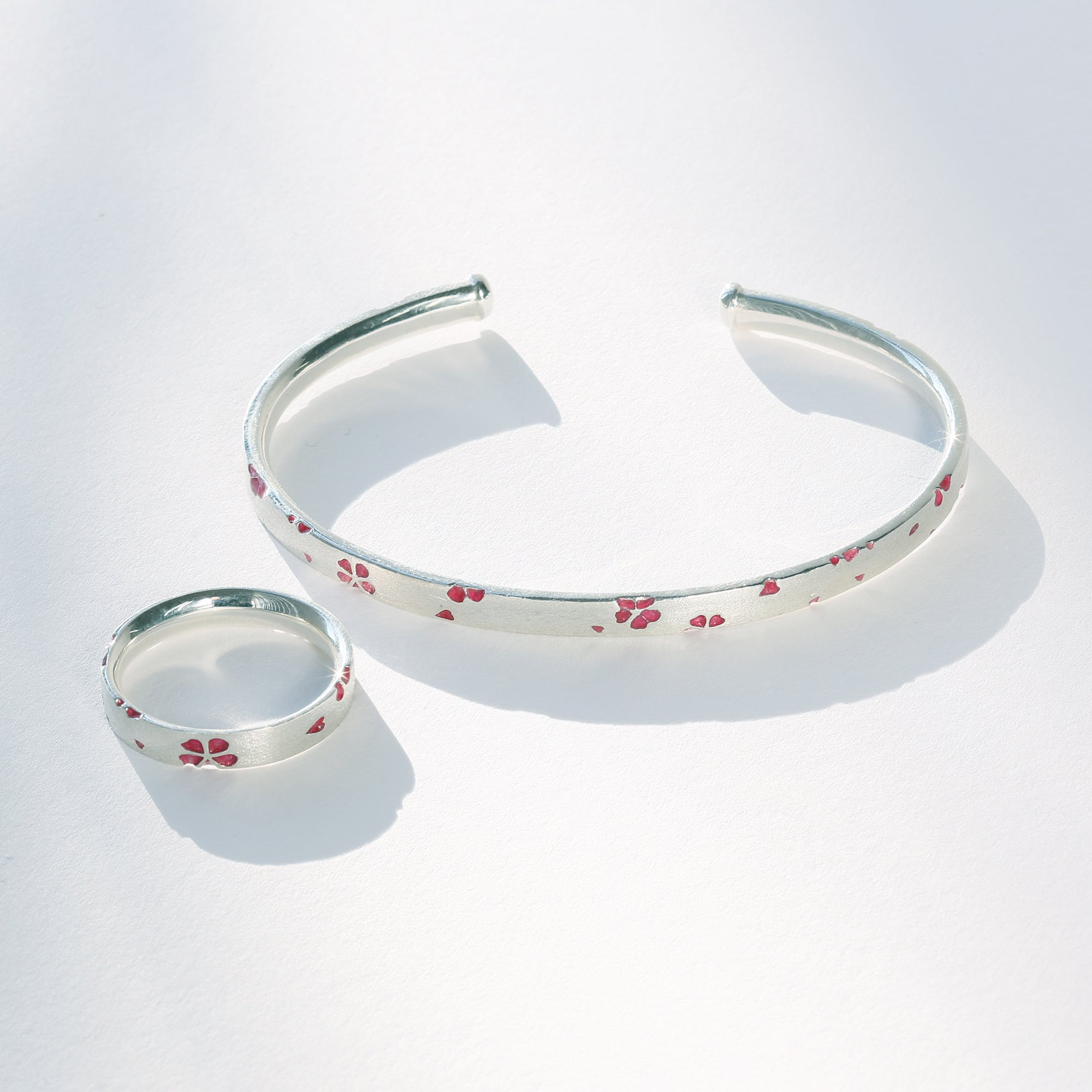 Silver Sakura Enamel Bangle (74-1595)