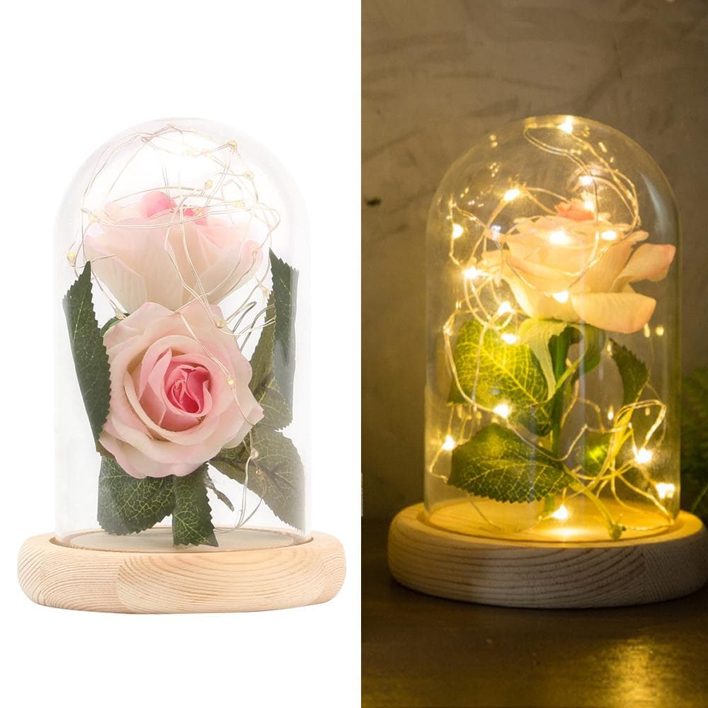 Enchanted Rose Lamp - Cherry & Oak