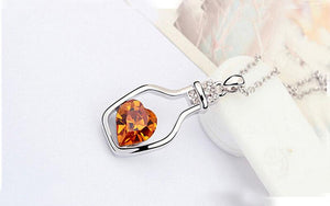 Love in a Bottle Crystal Necklace - Cherry & Oak