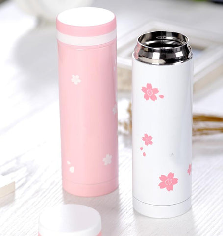 Cherry Blossom Thermal Bottle (Pink/White) - Cherry & Oak
