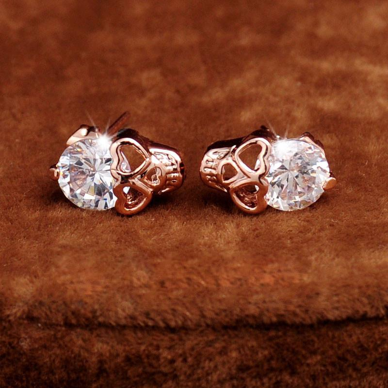 Skully - Crystal Stud Earrings