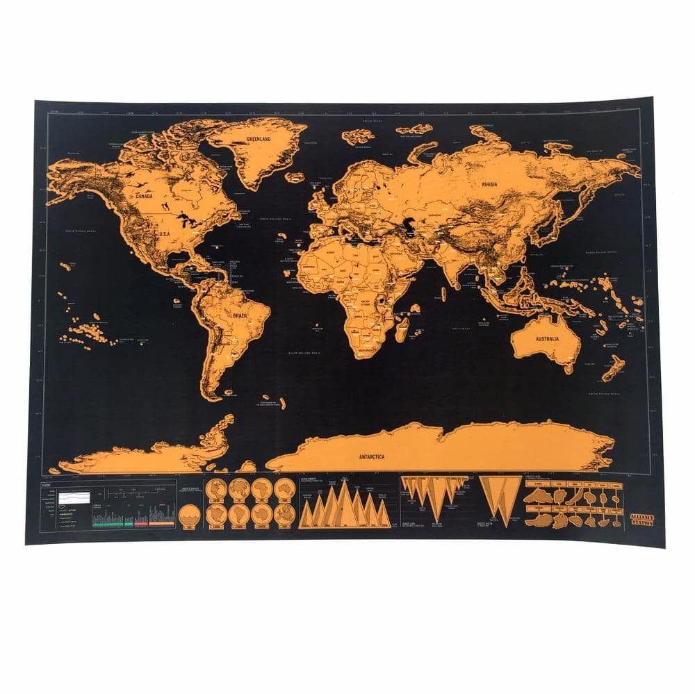 Travel the World Scratch-It Map - Gold Edition - Cherry & Oak