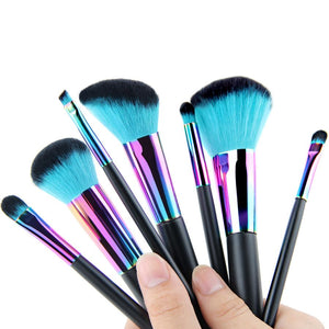 Rainbow Makeup Brushes (7 Piece Set) - Cherry & Oak