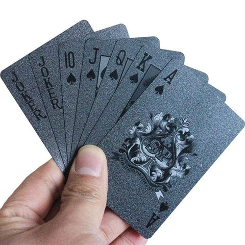 Premium Black Poker Cards - Cherry & Oak