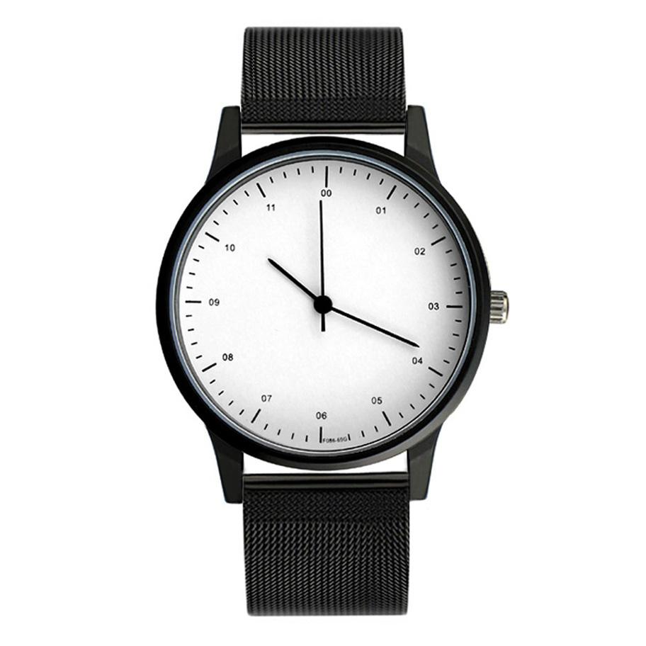 Steel Band Black & White Essentials Watch