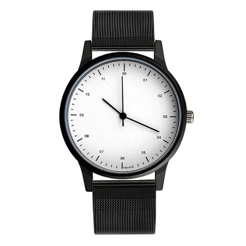 Steel Band Black & White Essentials Watch - Cherry & Oak