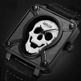 Luminous Skull Watch - Cherry & Oak
