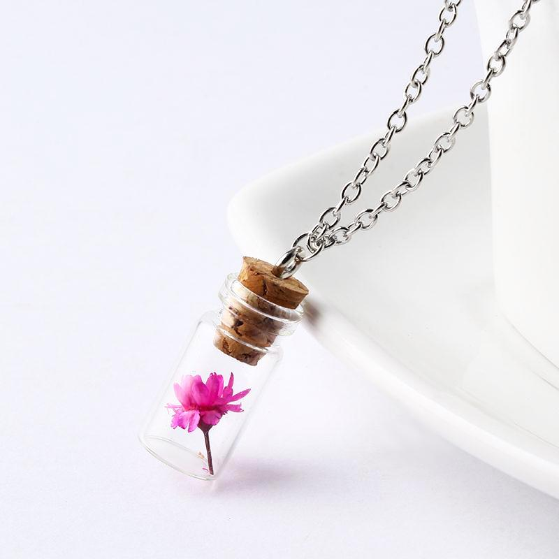 Flower in a Bottle Necklace - Cherry & Oak