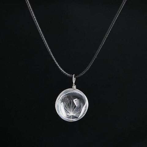 Crystal Ball Dandelion Necklace - Cherry & Oak