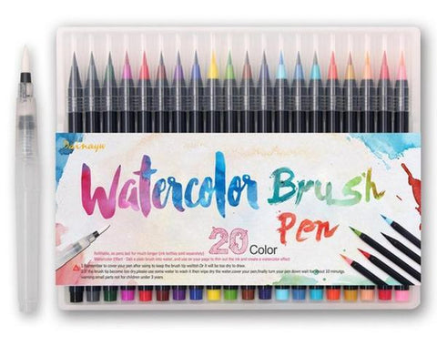 Watercolor Brush Pens (20 Piece Set) - Cherry & Oak