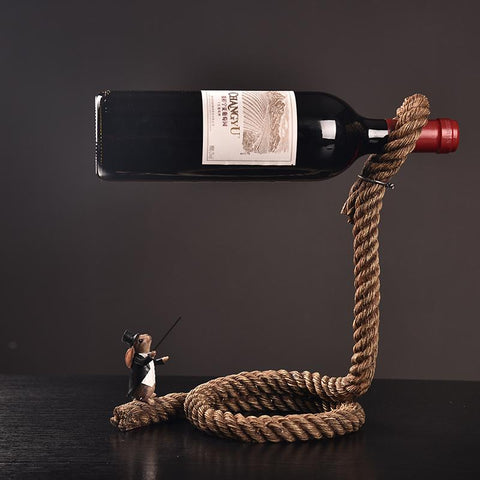 Magic Rope Wine Holder - Cherry & Oak