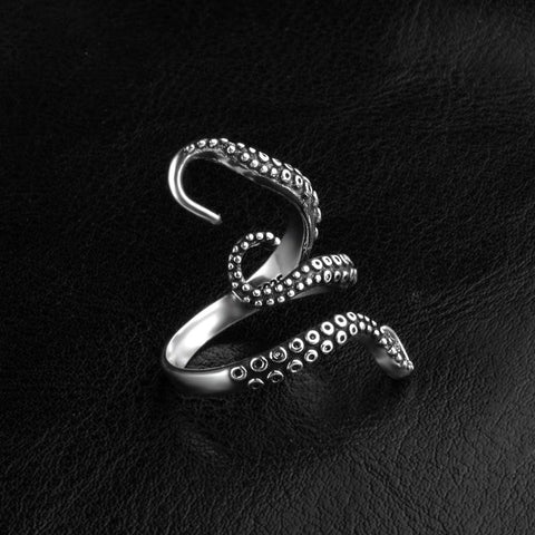 Gothic Punk Octopus Open Ring - Cherry & Oak