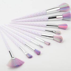 White Unicorn Makeup Brushes (10 Piece Set)