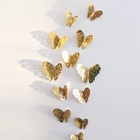 Butterfly 3D Wall Stickers - Deluxe Edition (Gold/Silver) - Cherry & Oak