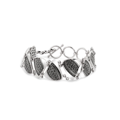 Indonesian Batik Ornamentation Bracelet in Sterling Silver