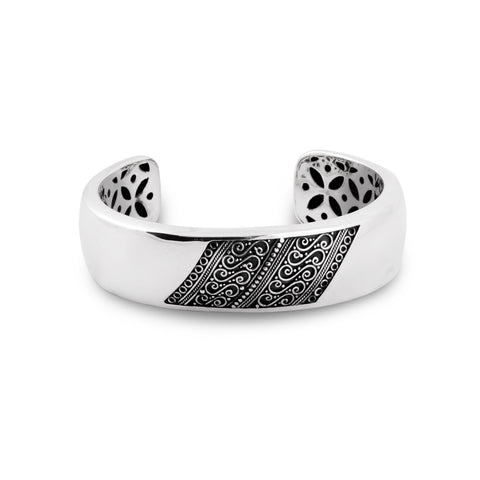 Indonesian Batik Ornamentation Cuff Bracelet in Sterling Silver