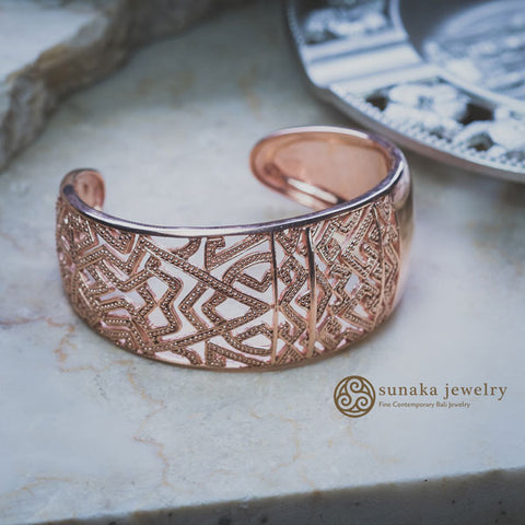 Songket Rose Gold Plated Cuff Bracelet
