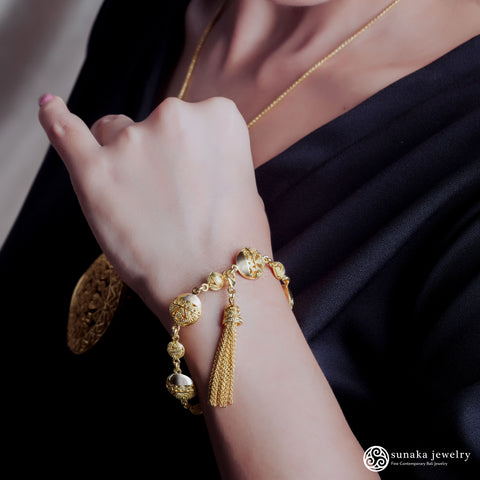 Songket Gold Plated Chain Bracelet