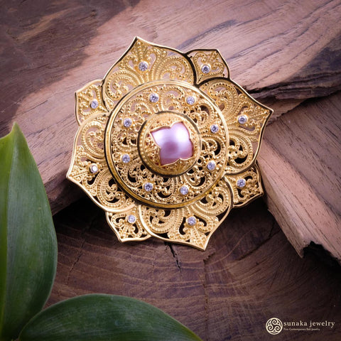 Padma Acala Brooch 24k Gold Over Sterling Silver