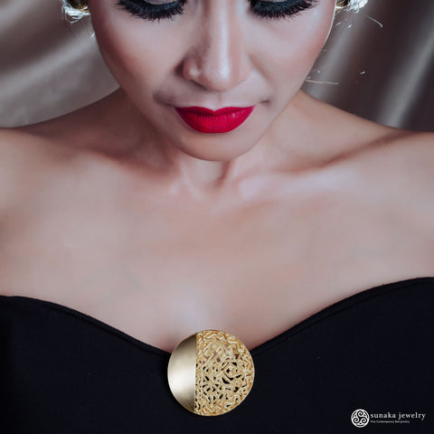 Songket Gold Plated Brooch