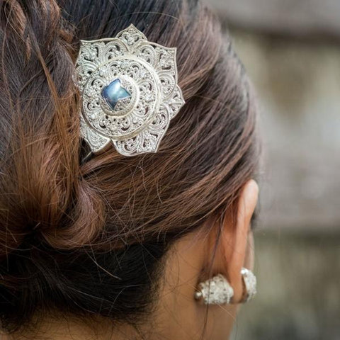 Padma Acala Balinese Hairpiece in Sterling Silver