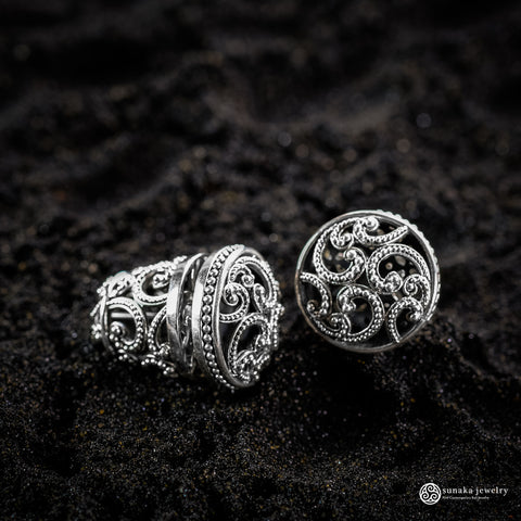 Ombak Segara Traditional Balinese Earrings in Sterling Silver