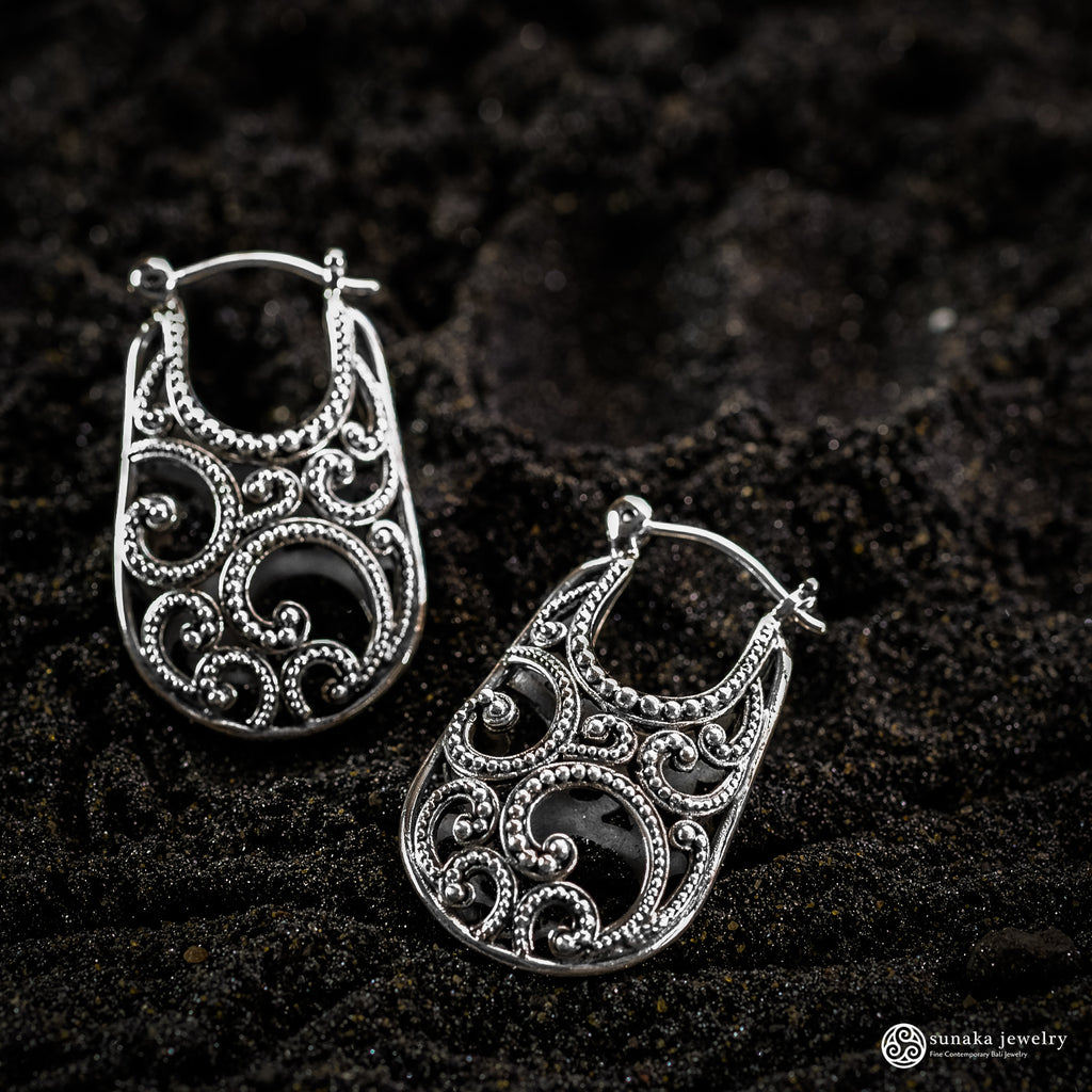 Ombak Segara Balinese Hoop Earrings in Sterling Silver