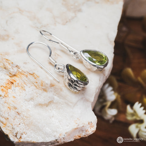 Hammer Peridot/ Pearl/ Citrine/ Garnet/ Rainbow Moonstone Earrings