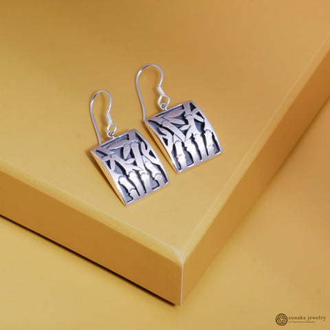 Bamboo Dangle Earrings in Sterling Silver