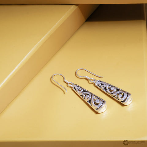 Gergajian Drop Earrings in Sterling Silver