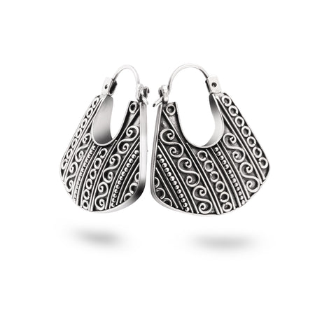 Indonesian Batik Ornamentation Traditional Hoop Earrings in Sterling Silver