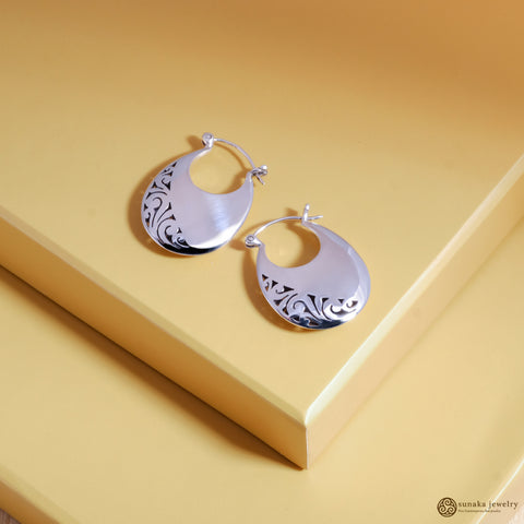 Gergajian Hoop Earrings in Sterling Silver