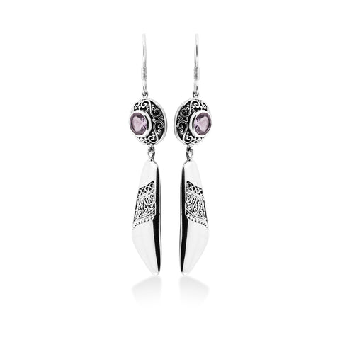Indonesian Ornamentation Drop Earrings in Sterling Silver