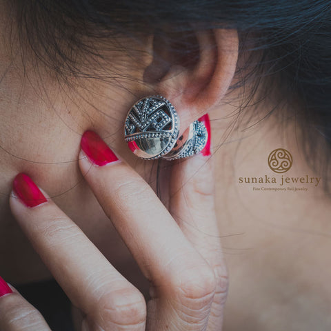 Balinese Subeng Songket Bali Silver Earrings