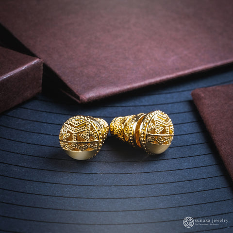 Songket Bali Traditional Earrings in Gold Plated Over Sterling Silver (mini)