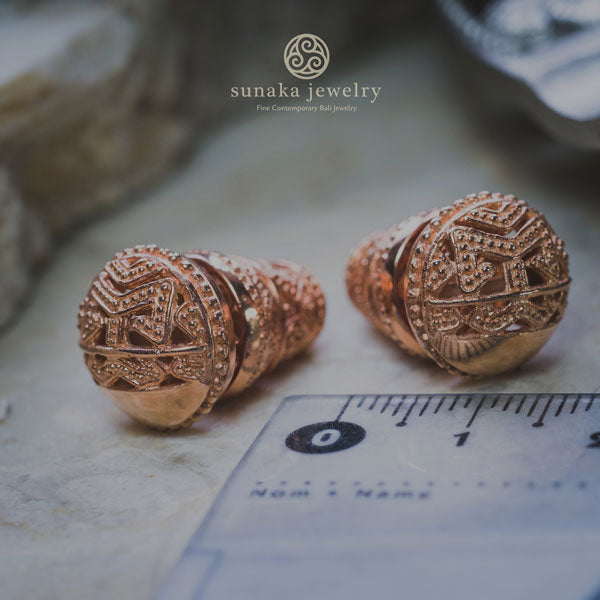 Songket Bali Traditional Earrings in Rose Gold Over Sterling Silver