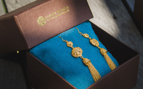 Songket Gold Plated Drop Chain Earrings