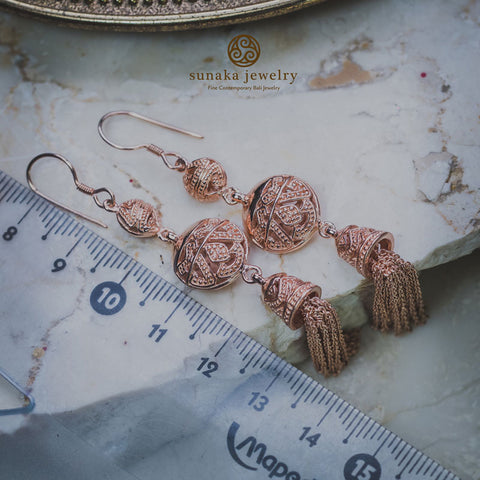 Songket Rose Gold Plated Drop Earrings